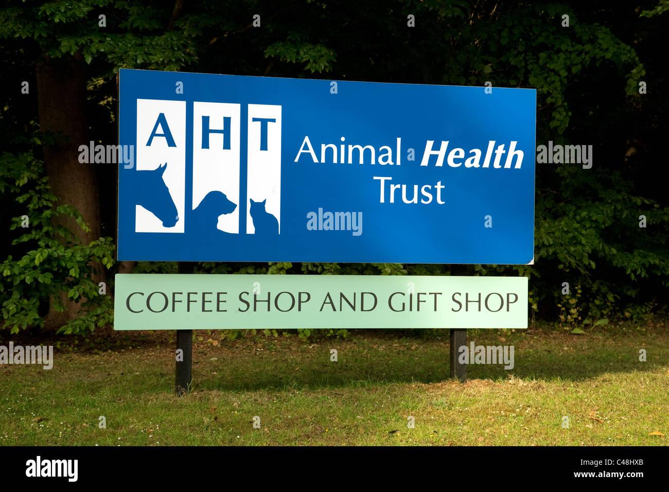 Animal Health trust sign, Kentford, Newmarket Suffolk UK - Stock Image