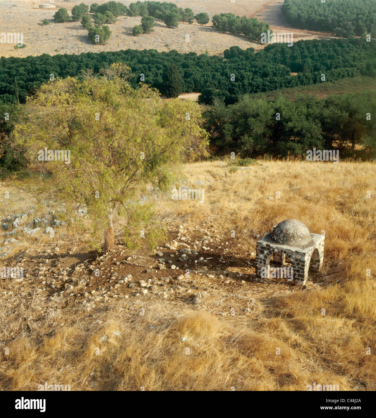 Aerial view of the Pit of Joseph at Jubb Yusuf in  the Lower Galilee - Stock Image