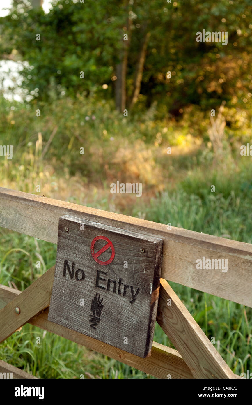 No entry sign to British countryside, Suffolk UK - Stock Image