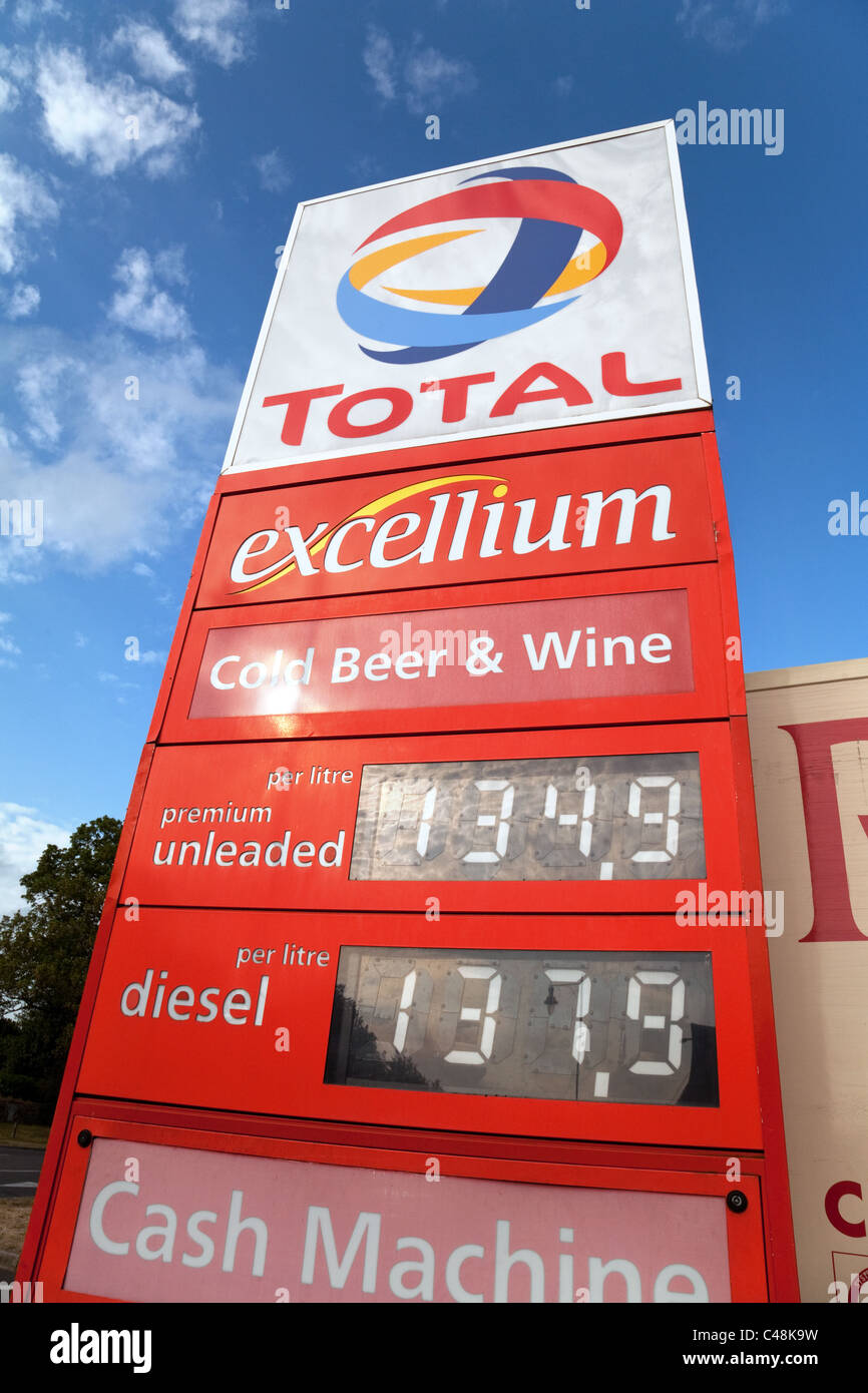 Total petrol station sign with petrol and diesel prices, Suffolk UK - Stock Image