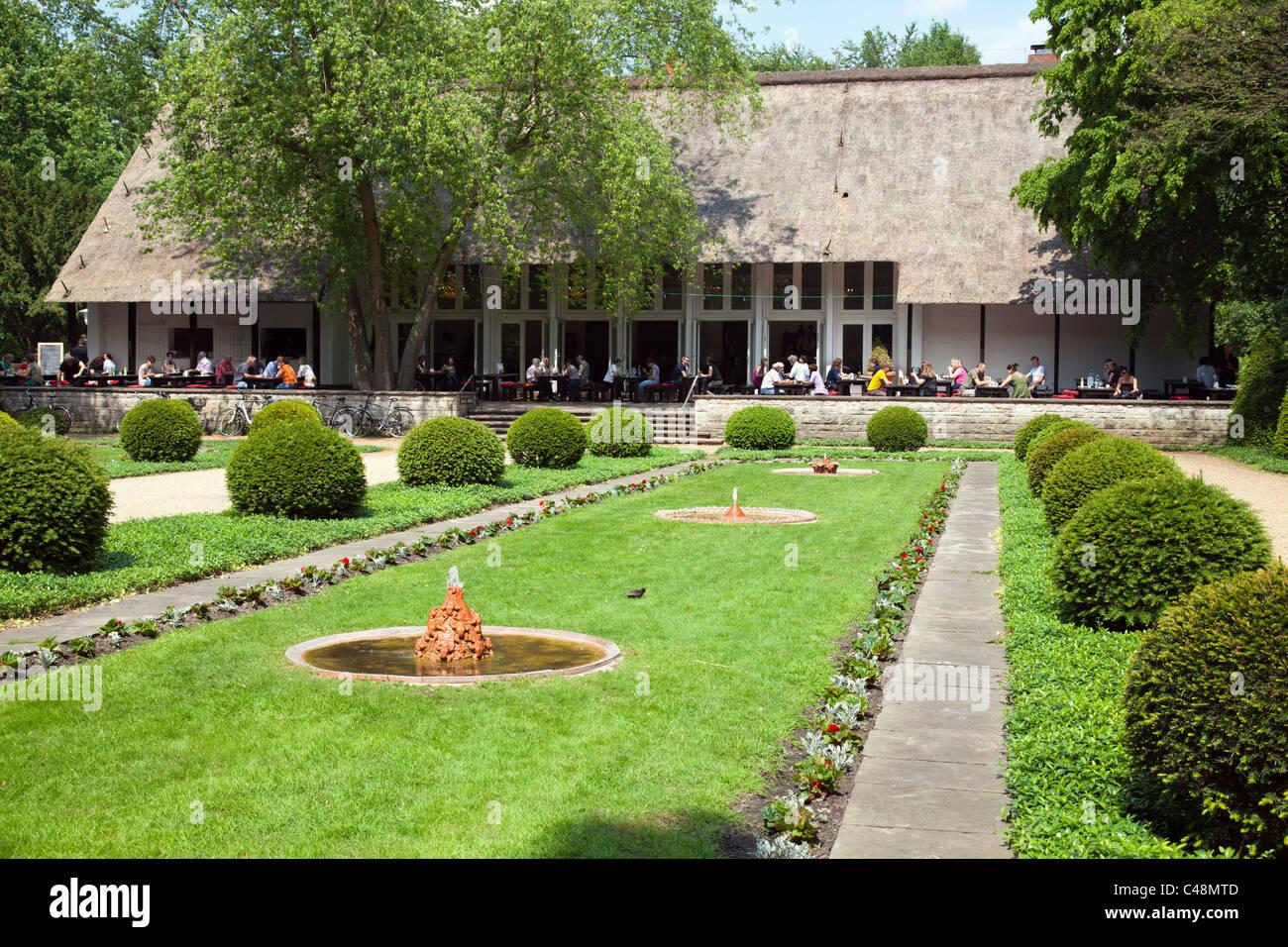 Englischer Garten in the Tiergarten with cafe, Berlin, Germany - Stock Image