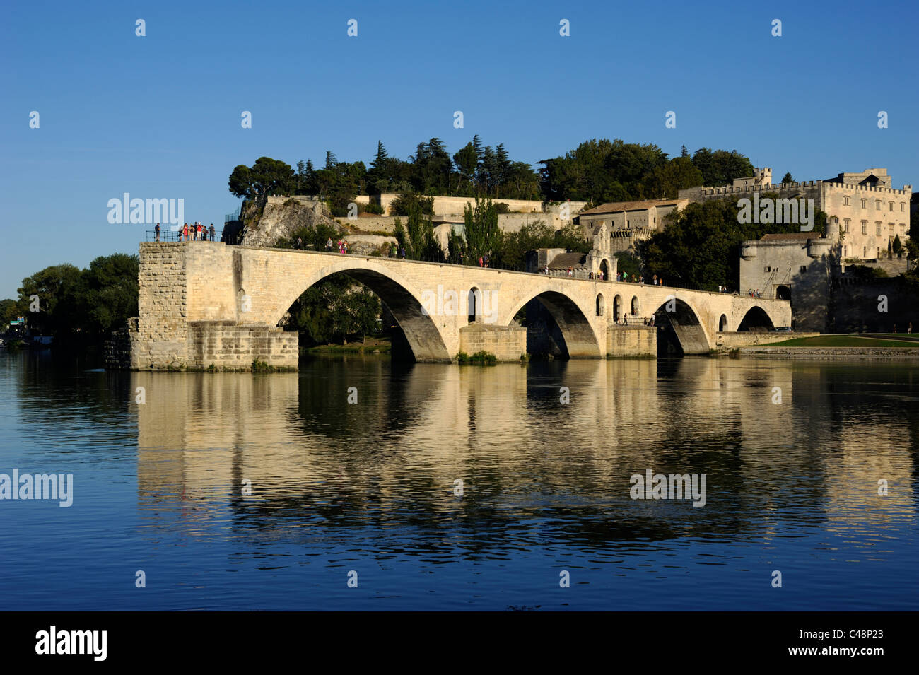 france, provence, avignon, rhone river, saint benezet bridge - Stock Image
