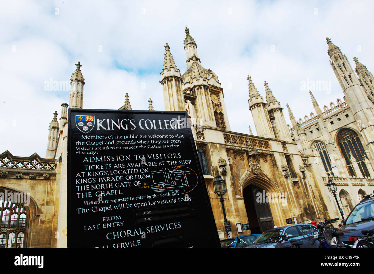 Wide angle view of Kings College Cambridge, UK - Stock Image