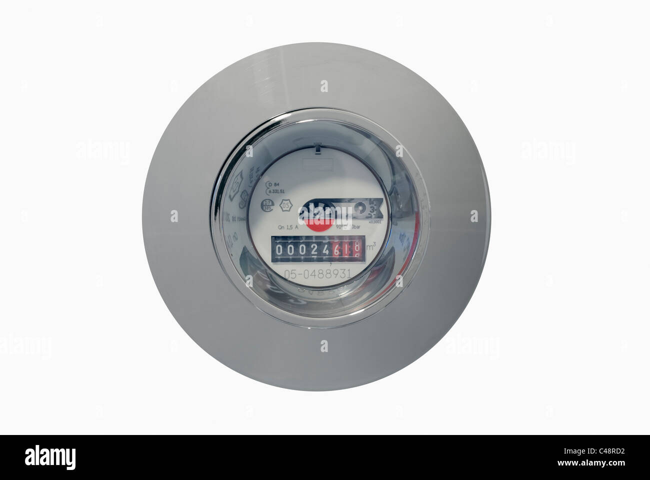 Water Meter Isolated on White for Easy Cutout - Stock Image