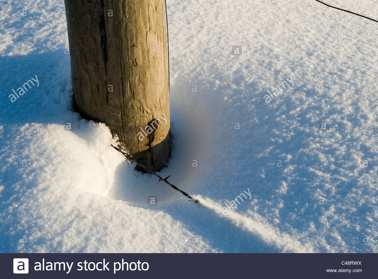Fence post and snow - Stock Image