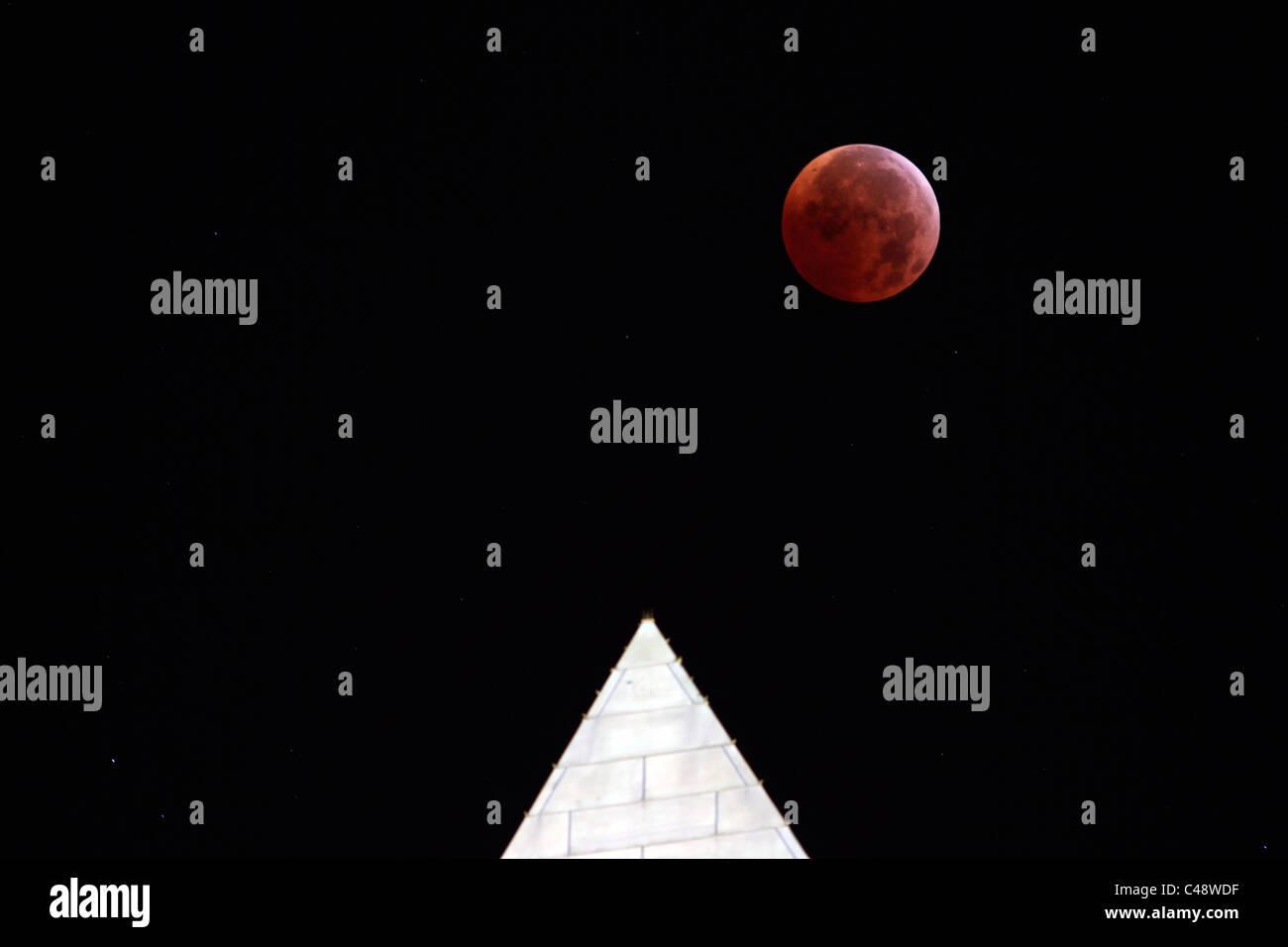 Lunar Eclipse over Washington DC Stock Photo