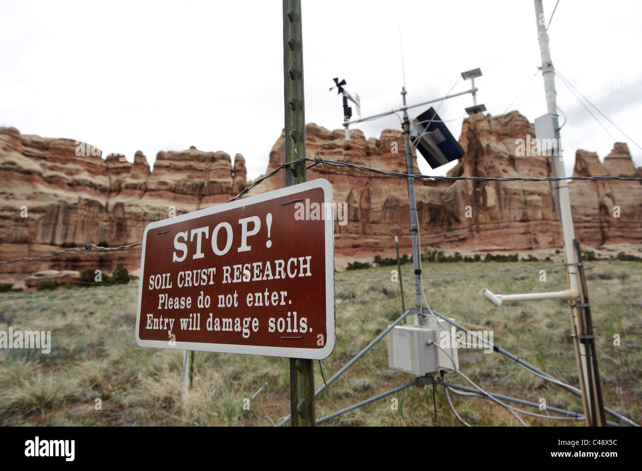 USGS weather station, Needles District, Canyonlands NP, UT - Stock Image