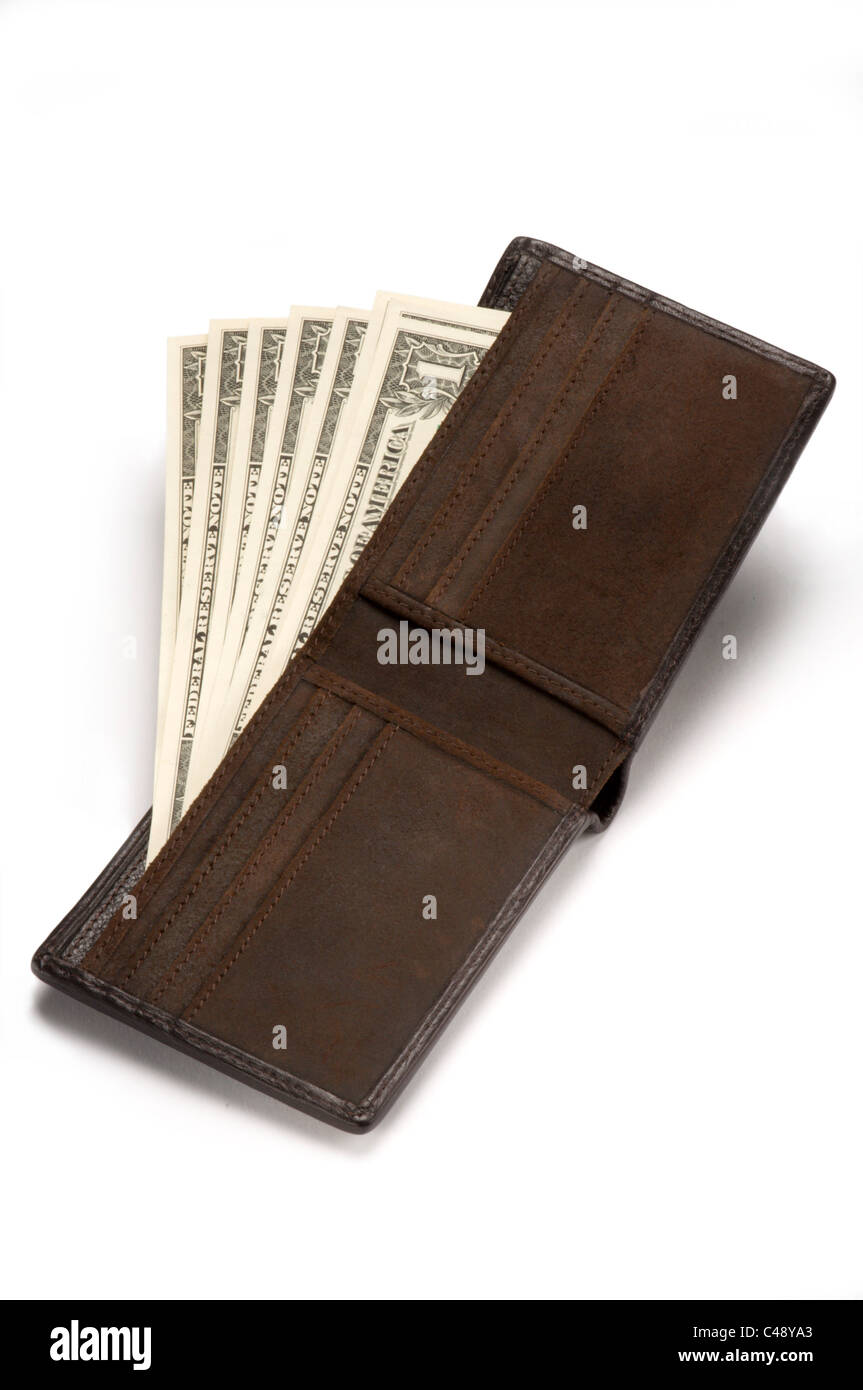 Wallet with money on white - Stock Image
