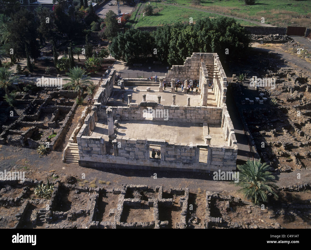 Aerial photograph of the ancient synagogue of Capernaum in the Sea of Galilee - Stock Image
