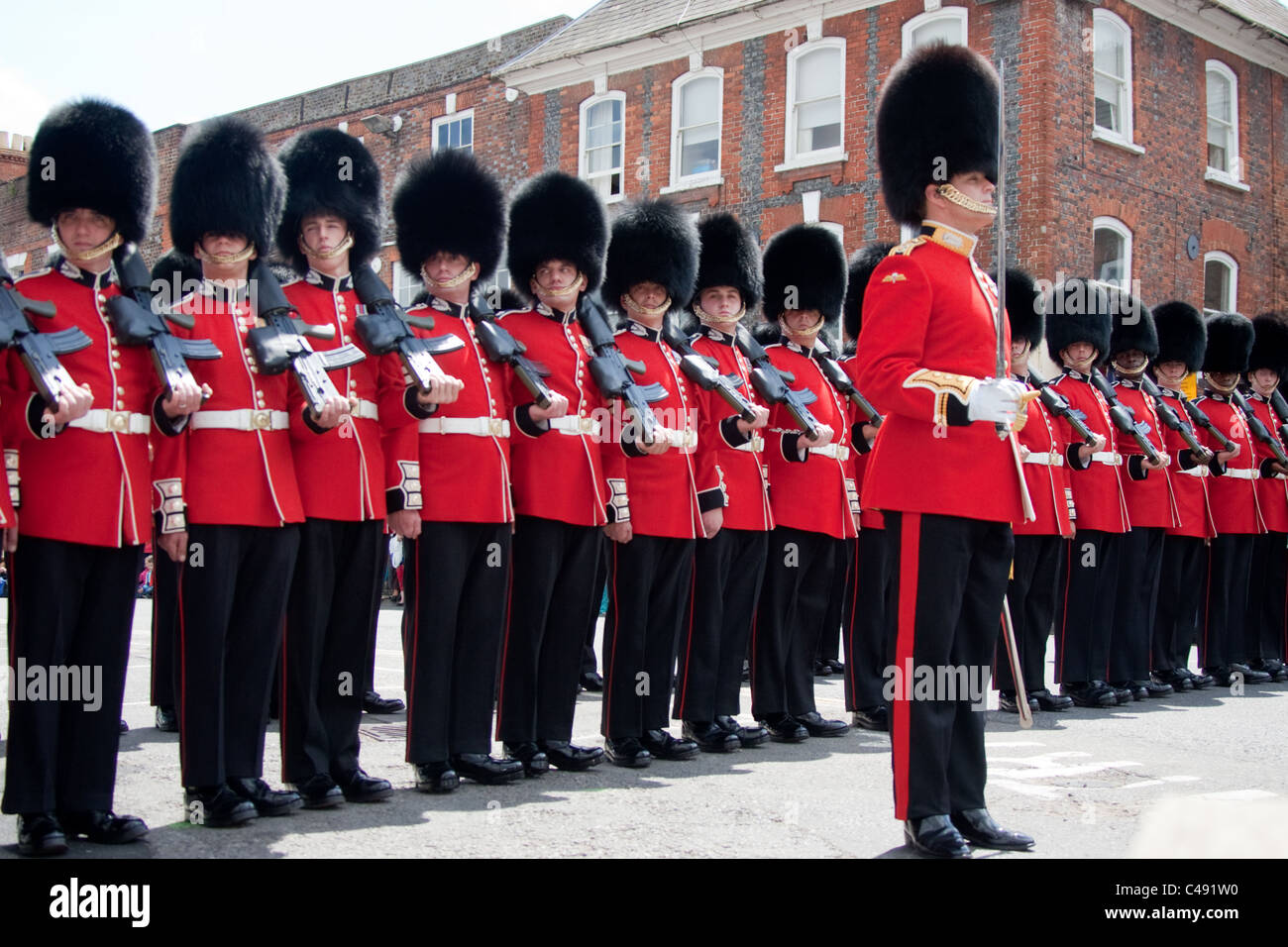 The 1st Battalion, Scots Guards perform a 'right dress'. - Stock Image
