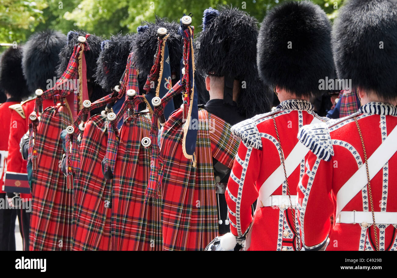 A rear view of some members of the Band of the Scots Guards - Stock Image