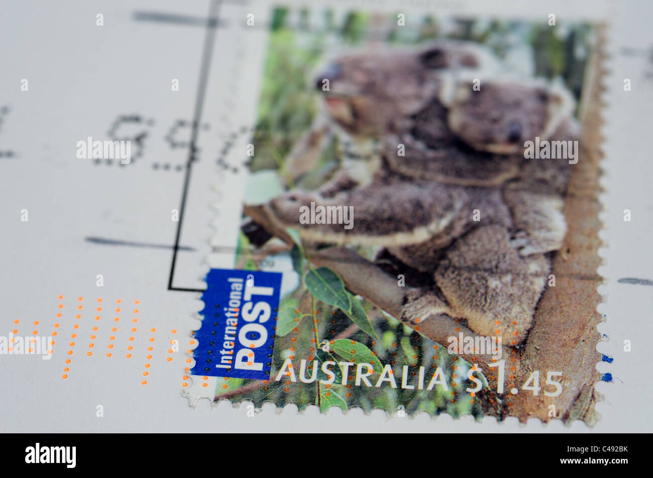 Australia Post international stamp - Stock Image
