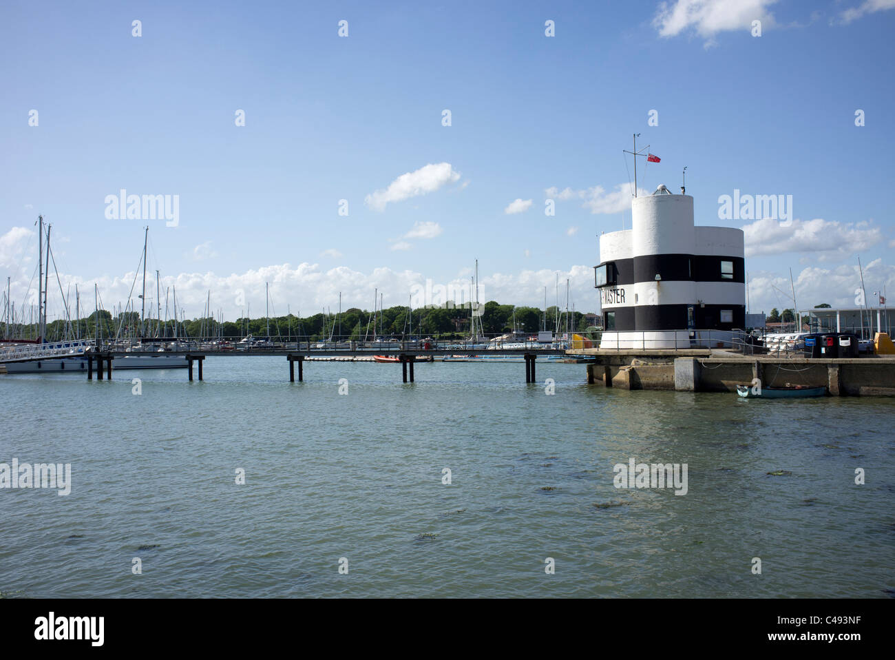 harbourmasters office at Warsash on the river Hamble, Hampshire, England, UK - Stock Image