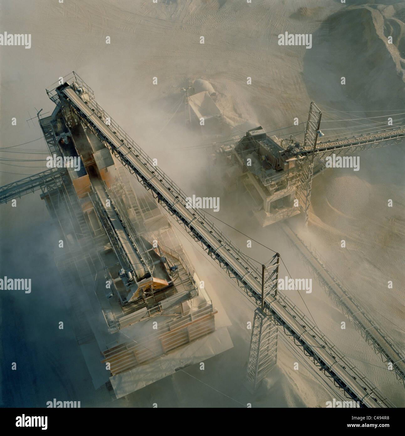 Aerial photograph of a quarry near  Rosh Ha'ain in the Dan metropolis - Stock Image
