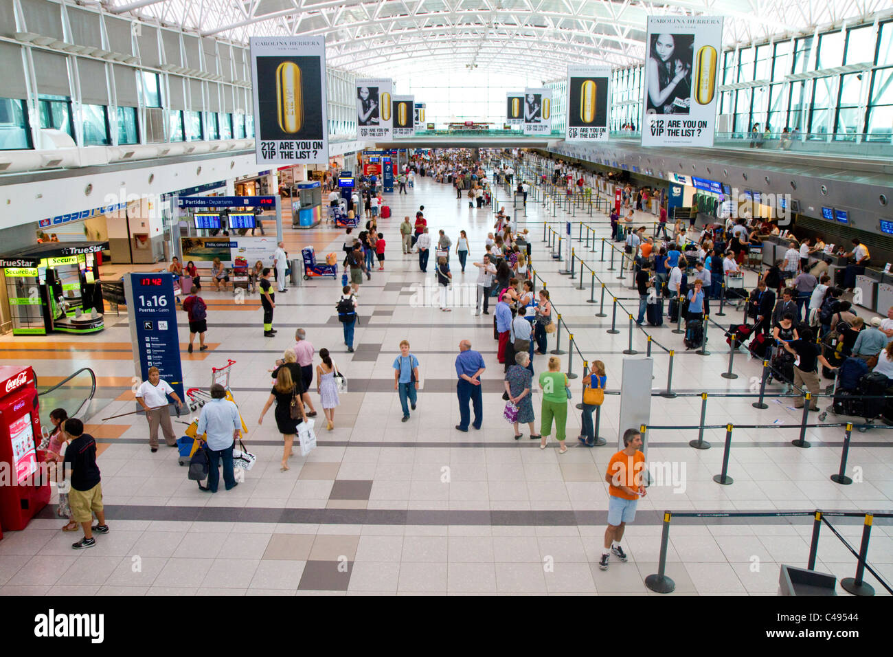 Departure hall of the Ministro Pistarini International Airport in Buenos Aires, Argentina. - Stock Image
