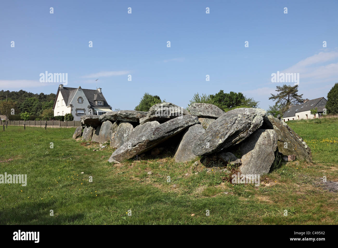 Neolithic Burial Chamber Called the Allee Couverte Bot-Er-Mohed at Cleguerec Brittany France - Stock Image