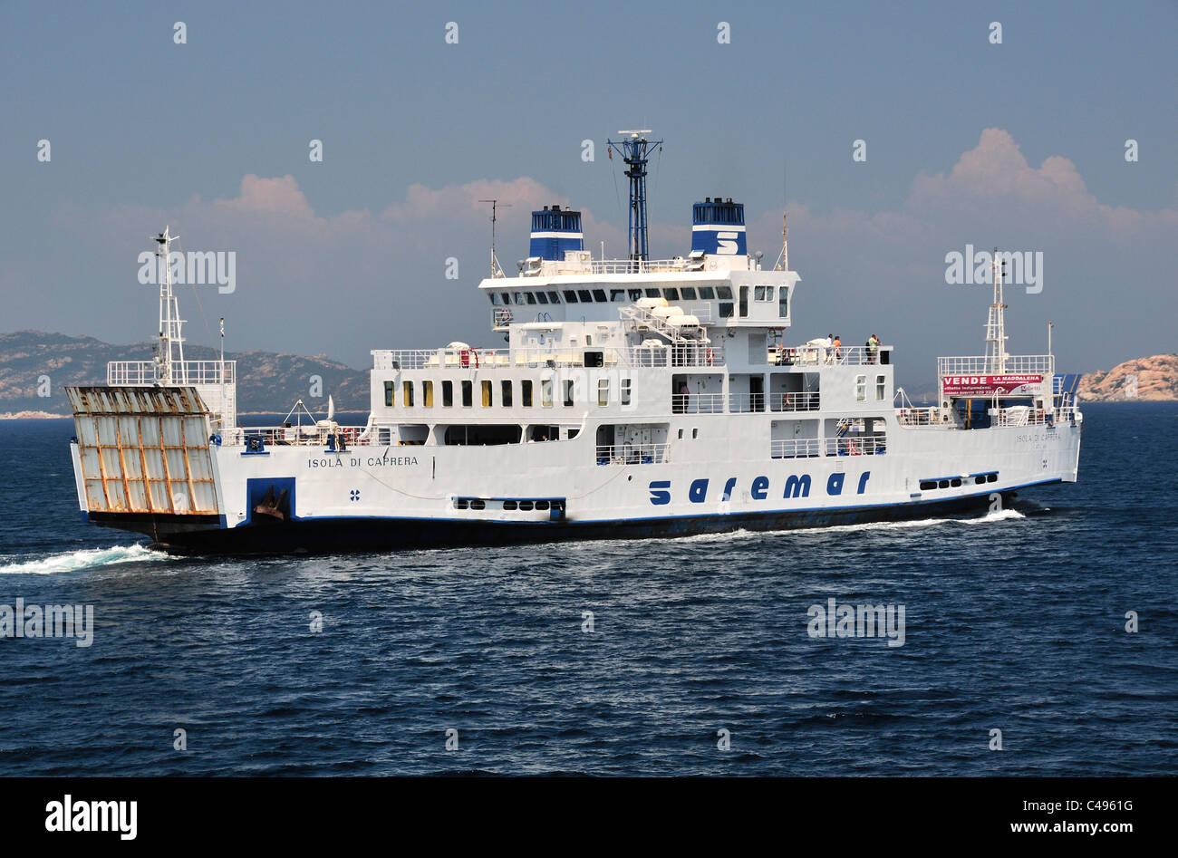Saremar ferry from Palau, northern Sardinia to the island of La Maddalena, the main island of the Archipelago di - Stock Image
