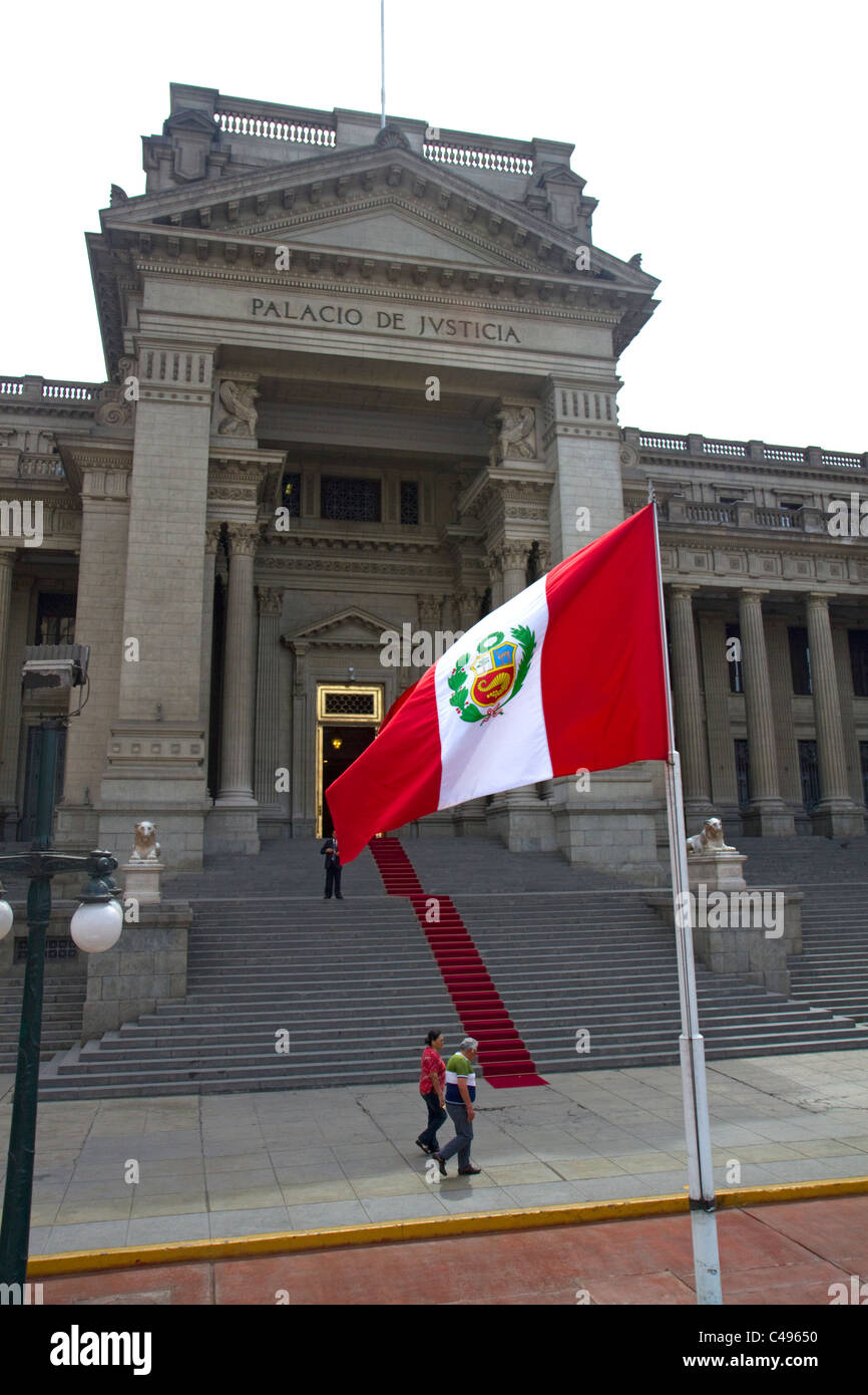 The Palace of Justice and the state flag of peru located in the Lima district of Lima, Peru. Stock Photo