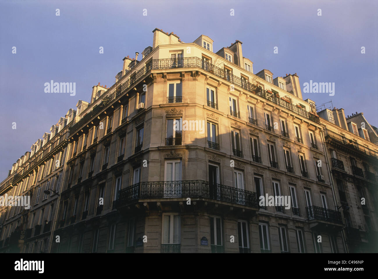 Photograph of the old buildings of Paris at dusk - Stock Image