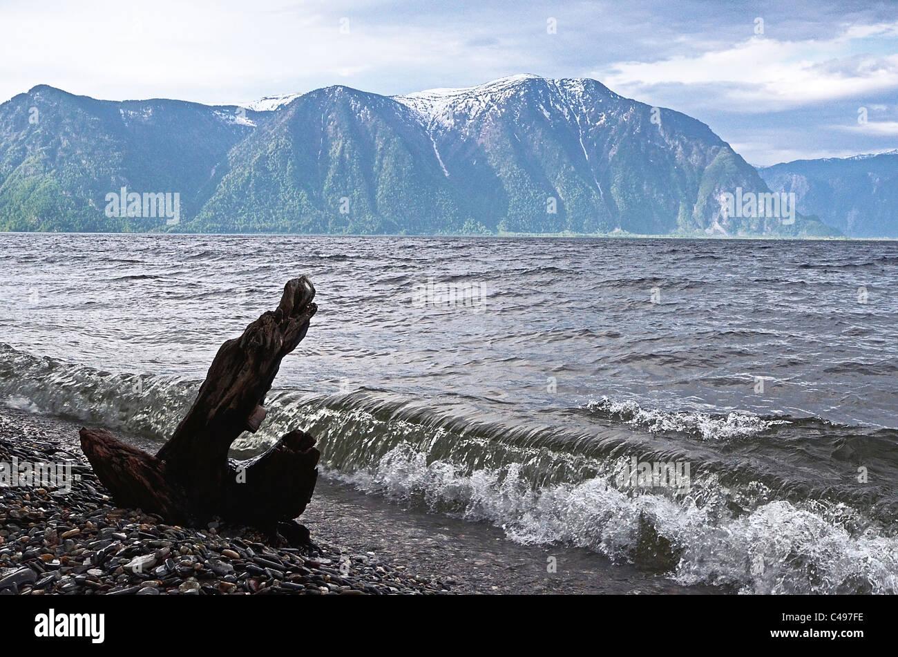 Teletskoye lake and Tualok Mount.  Altai. Siberia. Russia Stock Photo
