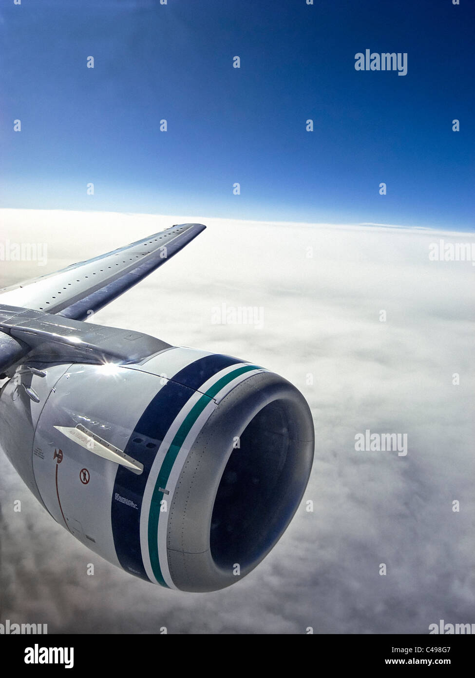 Jet engine of Boeing 737-400 commercial airliner - Stock Image