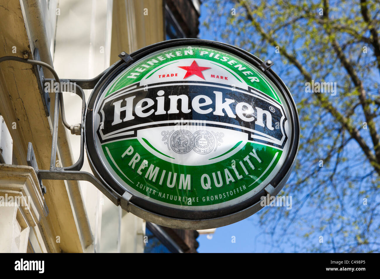 Sign for Heineken beer outside a bar in Amsterdam, Netherlands - Stock Image