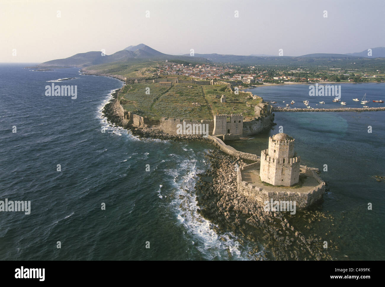 Aerial photograph of the Venetian fortress on the Greek island of Methoni - Stock Image