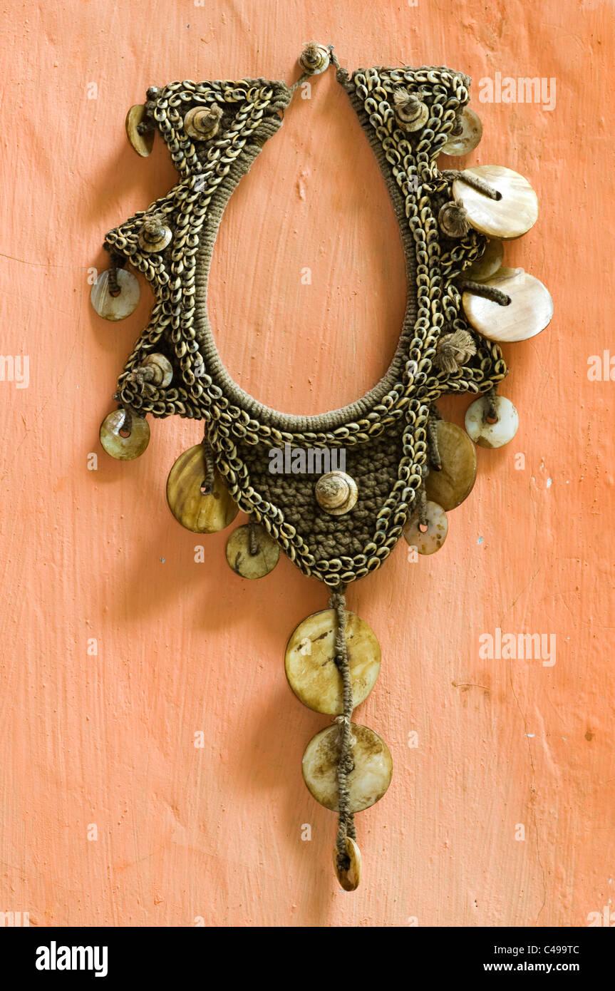 Tribal jewellery, Craft shop waikabubak sumba indonesia - Stock Image