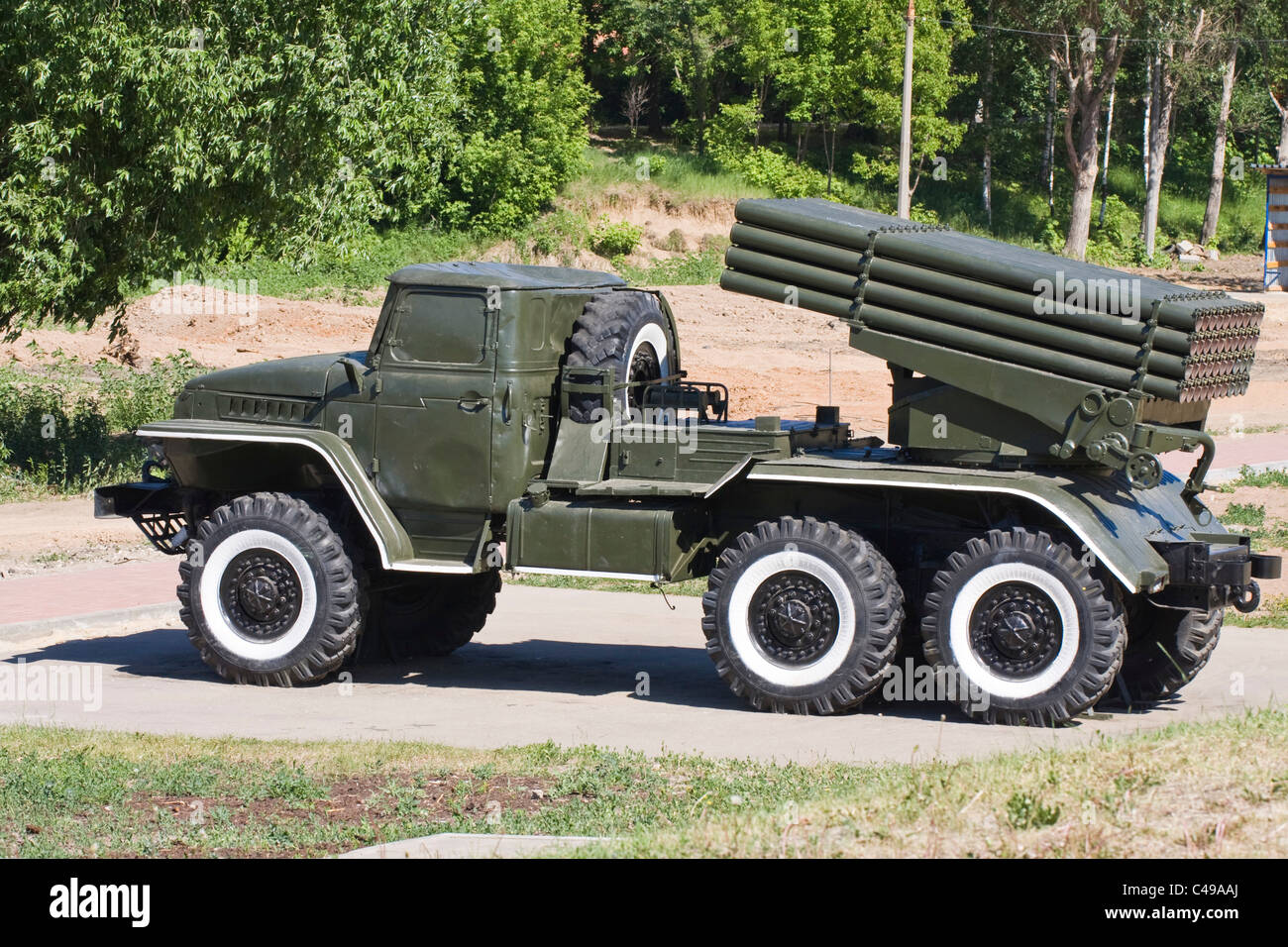 Grad multiple-launch rocket system, museum of military equipment - Stock Image