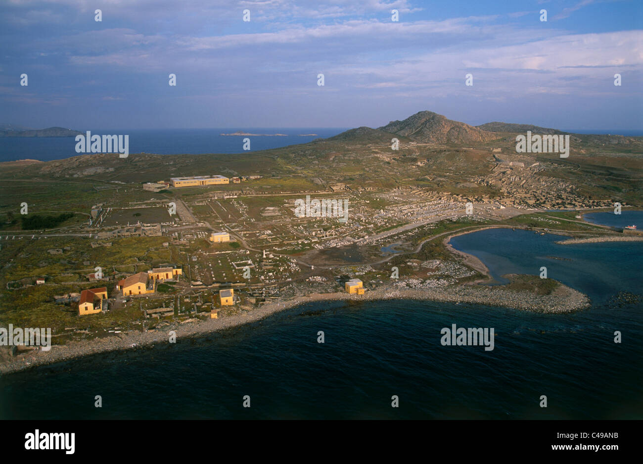 Aerial photograph of the ruins of an ancient Greek city on the Greek island of Delos - Stock Image