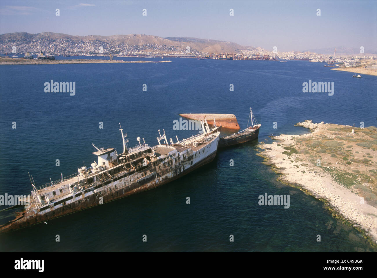 Aerial photograph of sunk ships in the Salamina bay in Greece - Stock Image