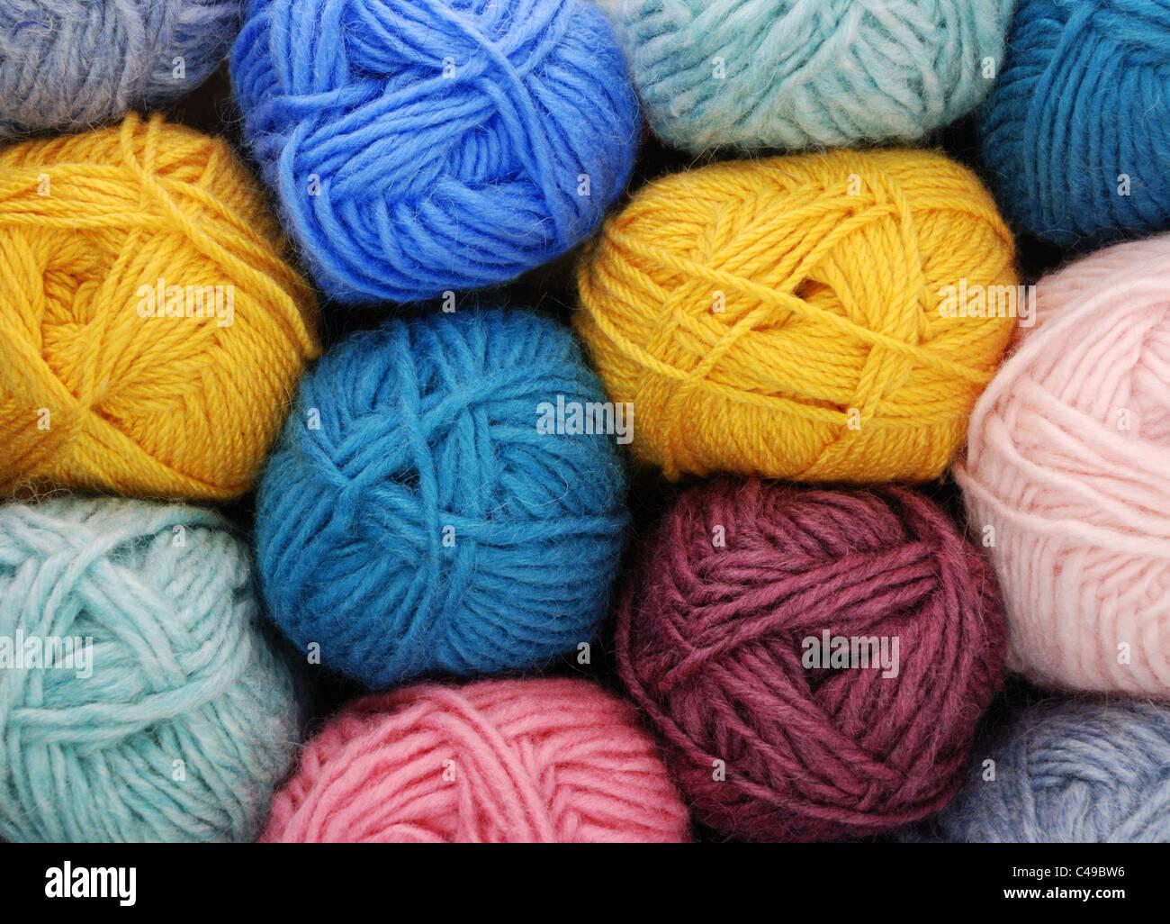 skeins (balls) of wool yarn - Stock Image