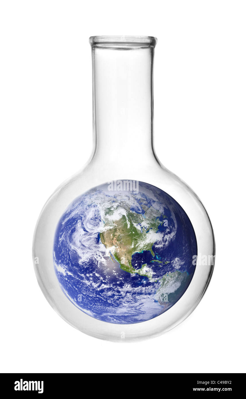 science of climate change: the Earth in a  flask - Stock Image