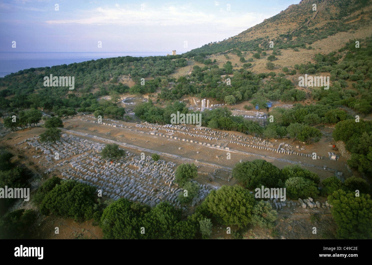 Aerial photograph of the ruins of the ancient Greek city of Palepoli on the island of Samothraki - Stock Image