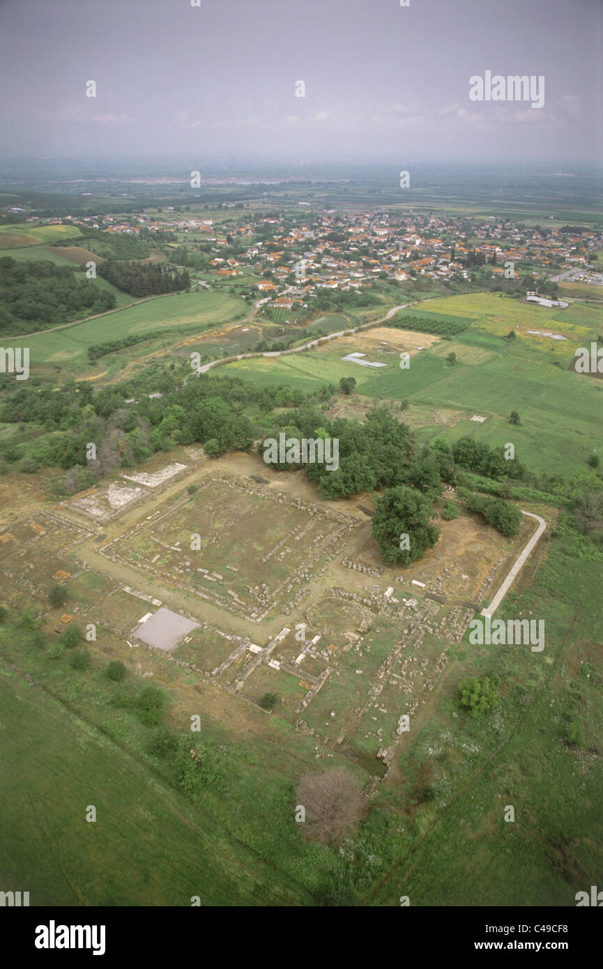 Aerial photograph of the ruins of the ancient Greek city of Vergina - Stock Image