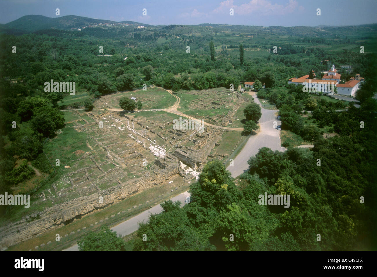 Aerial photograph of the ruins of the ancient Greek cirt of Edessa - Stock Image