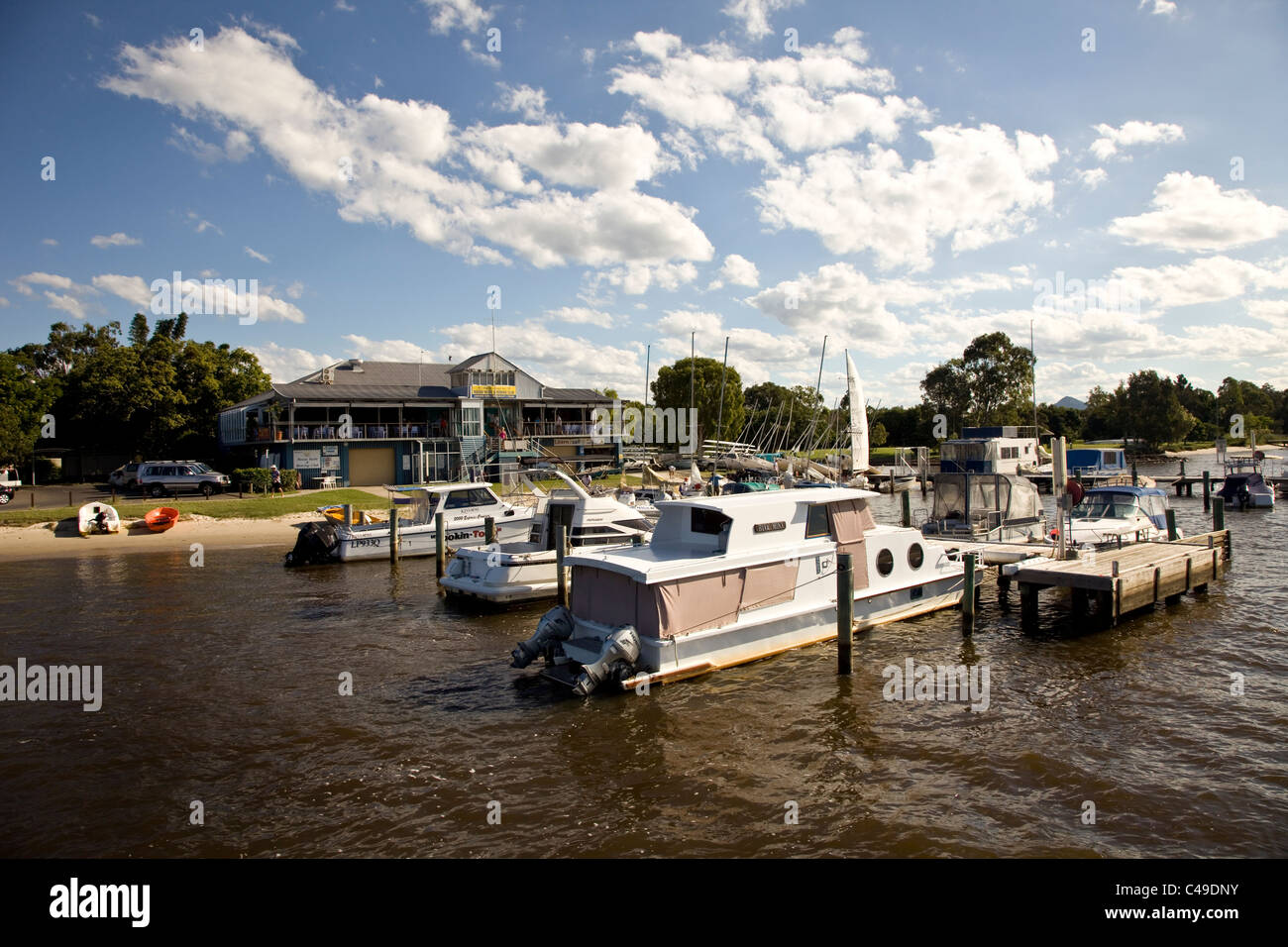 Boats in the estuary at Noosa, Queensland. Stock Photo