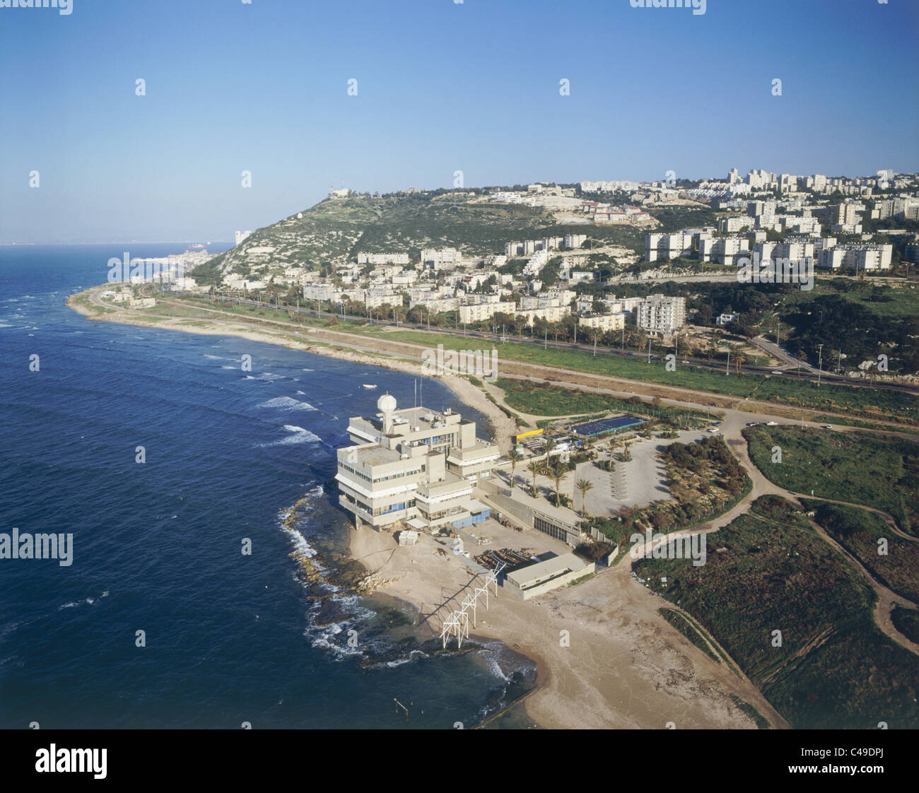 Aerial photograph of the Oceanographic Research Institution at the northern Entrance of Haifa - Stock Image