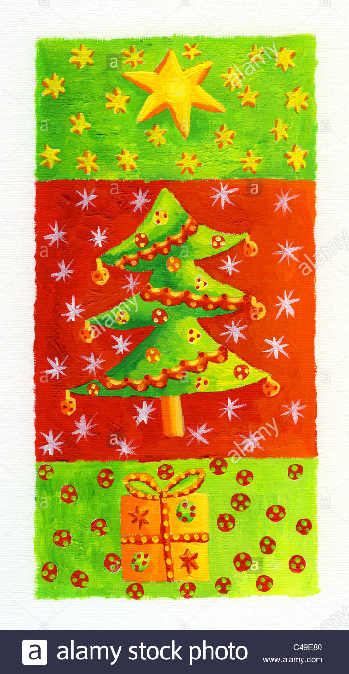 Acrylic Christmas Tree Painting.Acrylic Painting Of A Christmas Tree With A Star And Present