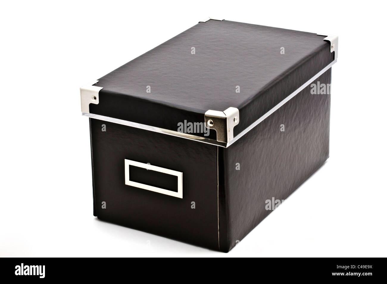 Black box close up on white background - Stock Image