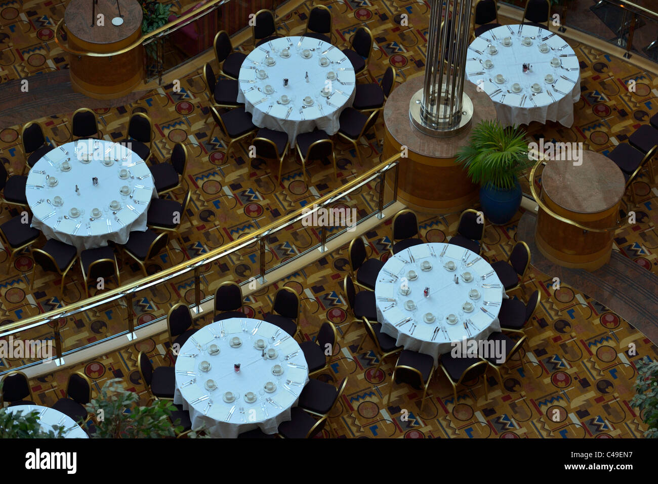 Decorated tables for a reception party in a luxury hotel, Roissy France FR Stock Photo
