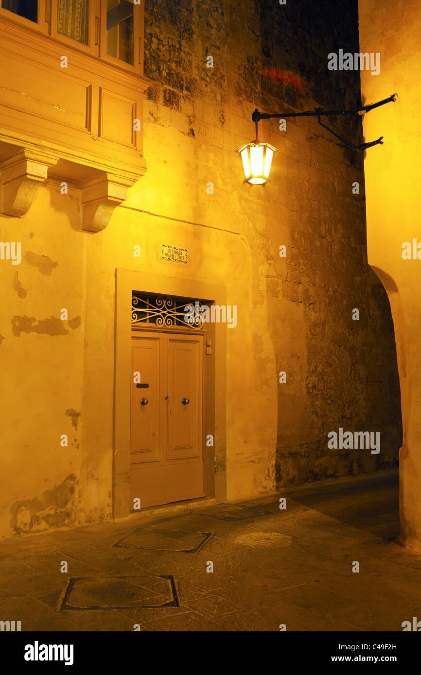 Night Scene, Mdina, Malta - Stock Image