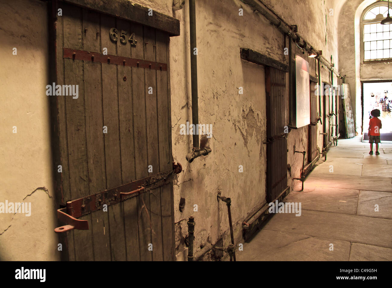 A cellblock that is open to tourists at Eastern State Penitentiary. - Stock Image