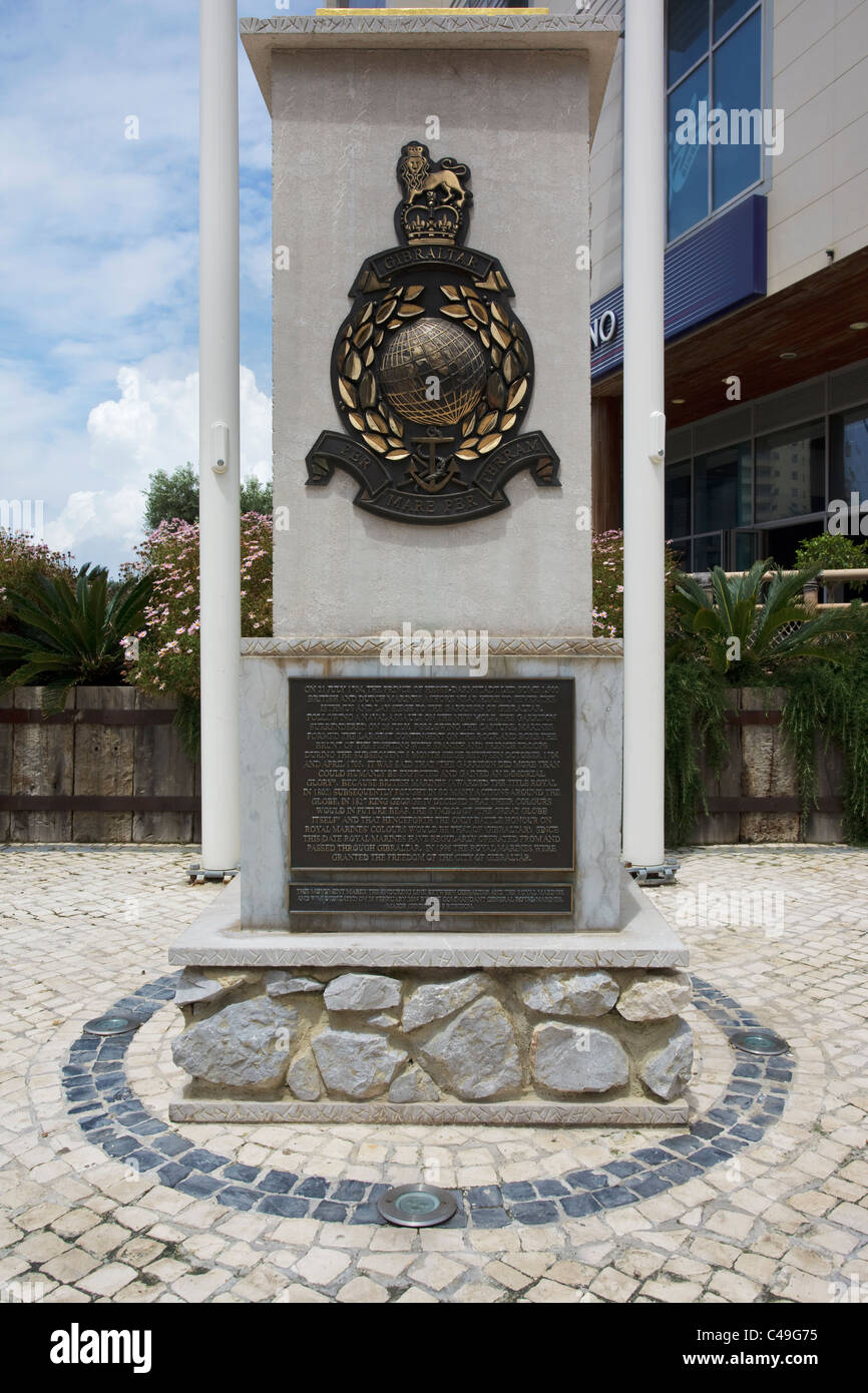 Royal Marines Gibraltar commemorative plaque and monument - Ocean village Gibraltar Stock Photo