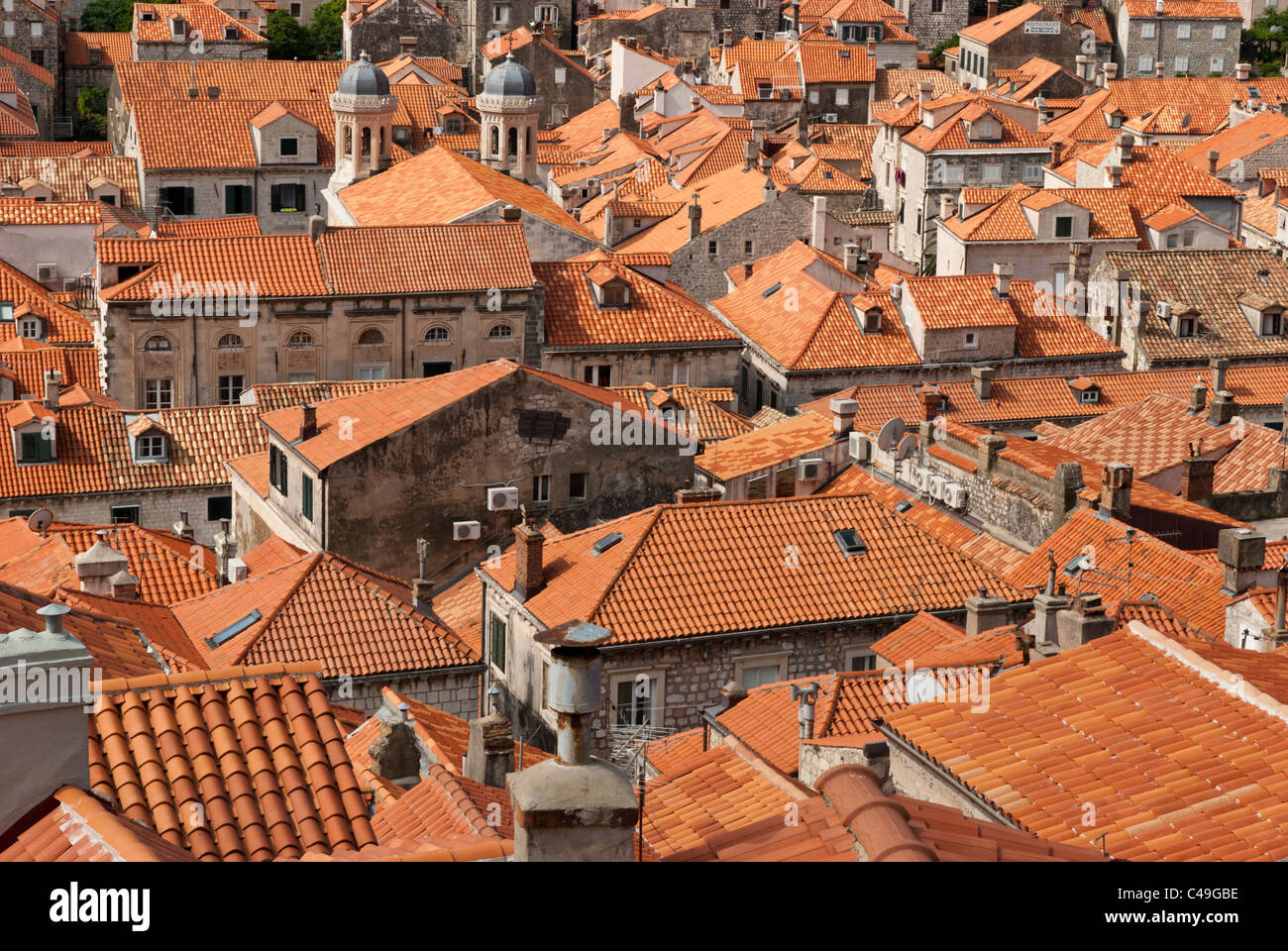 The famous orange roofs of the buildings in Old Town, Dubrovnik, Croatia. Brighter roofs signify new ones after Stock Photo