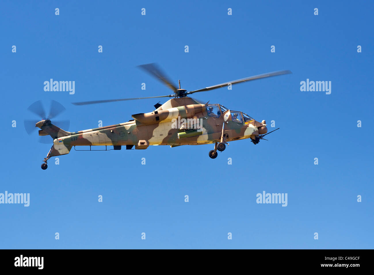 Rooivalk attack helicopter of the South African Air Force - Stock Image