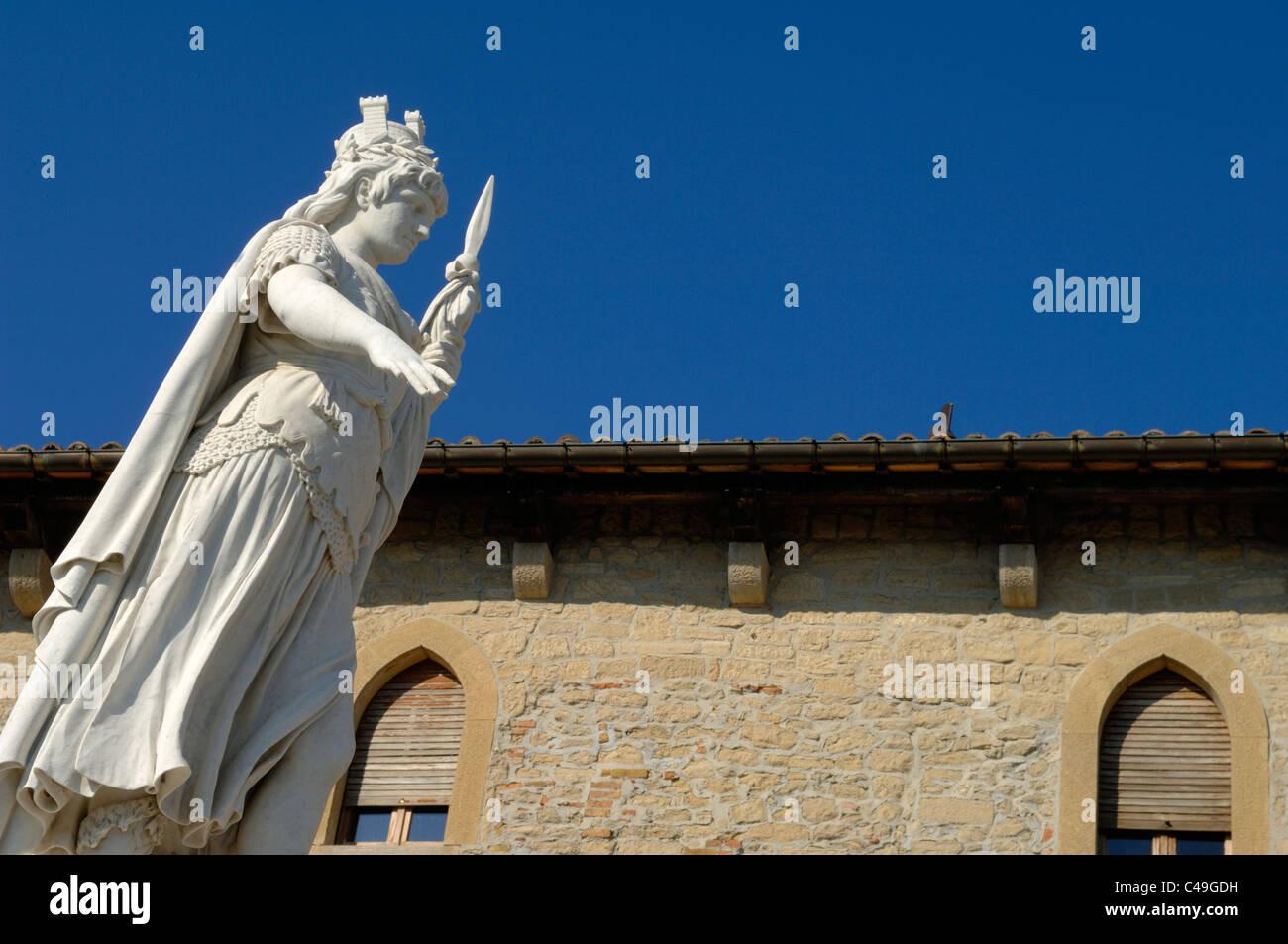 The Liberty Statue in Piazza Liberta in San Marino - Stock Image