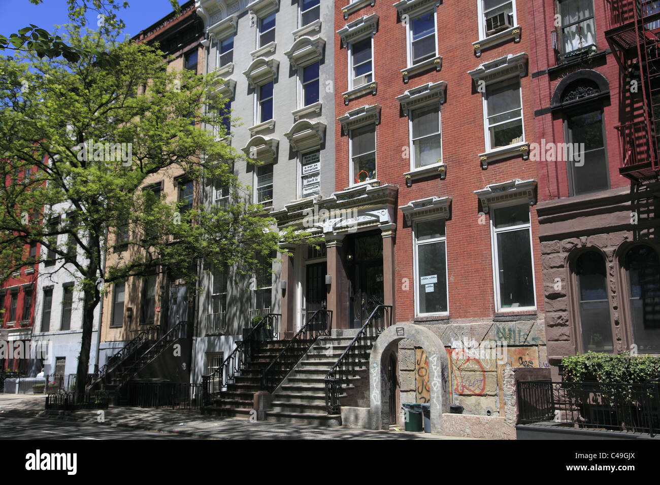 Apartment Buildings East Village Manhattan New York City Stock