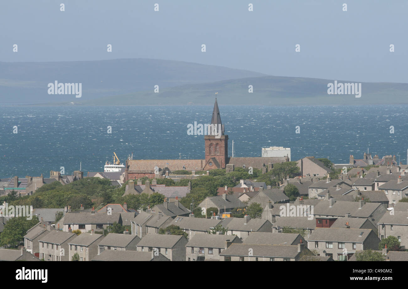 Elevated view of St Magnus cathedral Kirkwall Orkney Scotland  May 2011 - Stock Image
