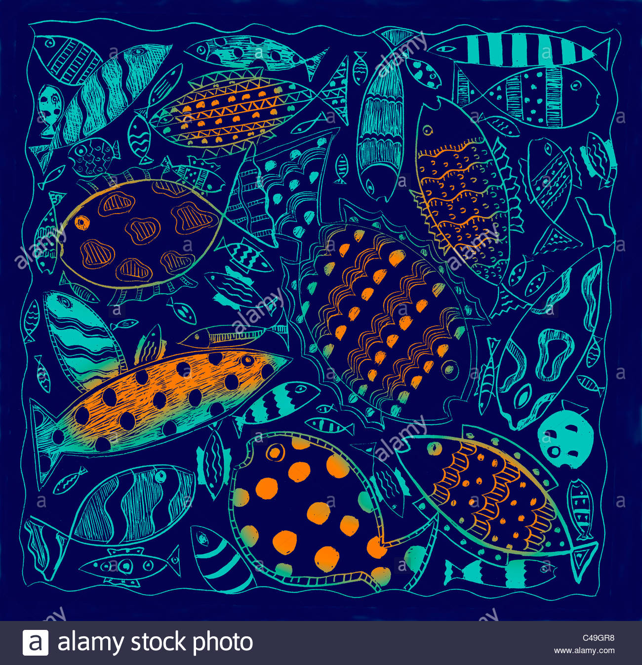 Lots of orange and blue fish,swimming in different directions - Stock Image